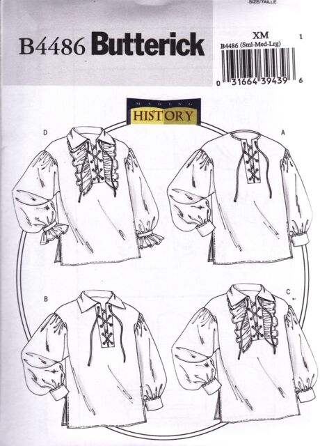 Butterick Easy Sewing Pattern B4486 Mens/misses Costume Shirt Xl ...