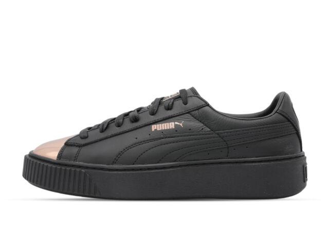 PUMA Basket Platform Metallic Scarpe Da Ginnastica Sneaker Donna 366169 02 Nero