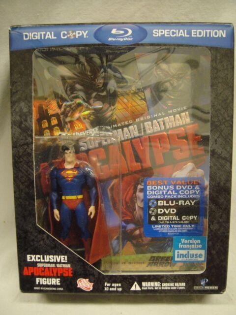 BEST BUY EXCLUSIVE!! SUPERMAN BATMA APOCALYPSE SUPERGIRL FIGURINE Statue BLU-RAY