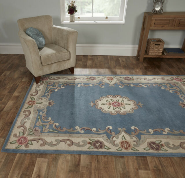 Lotus Premium Aubusson Wool Rug In Blue Choice Of Sizes