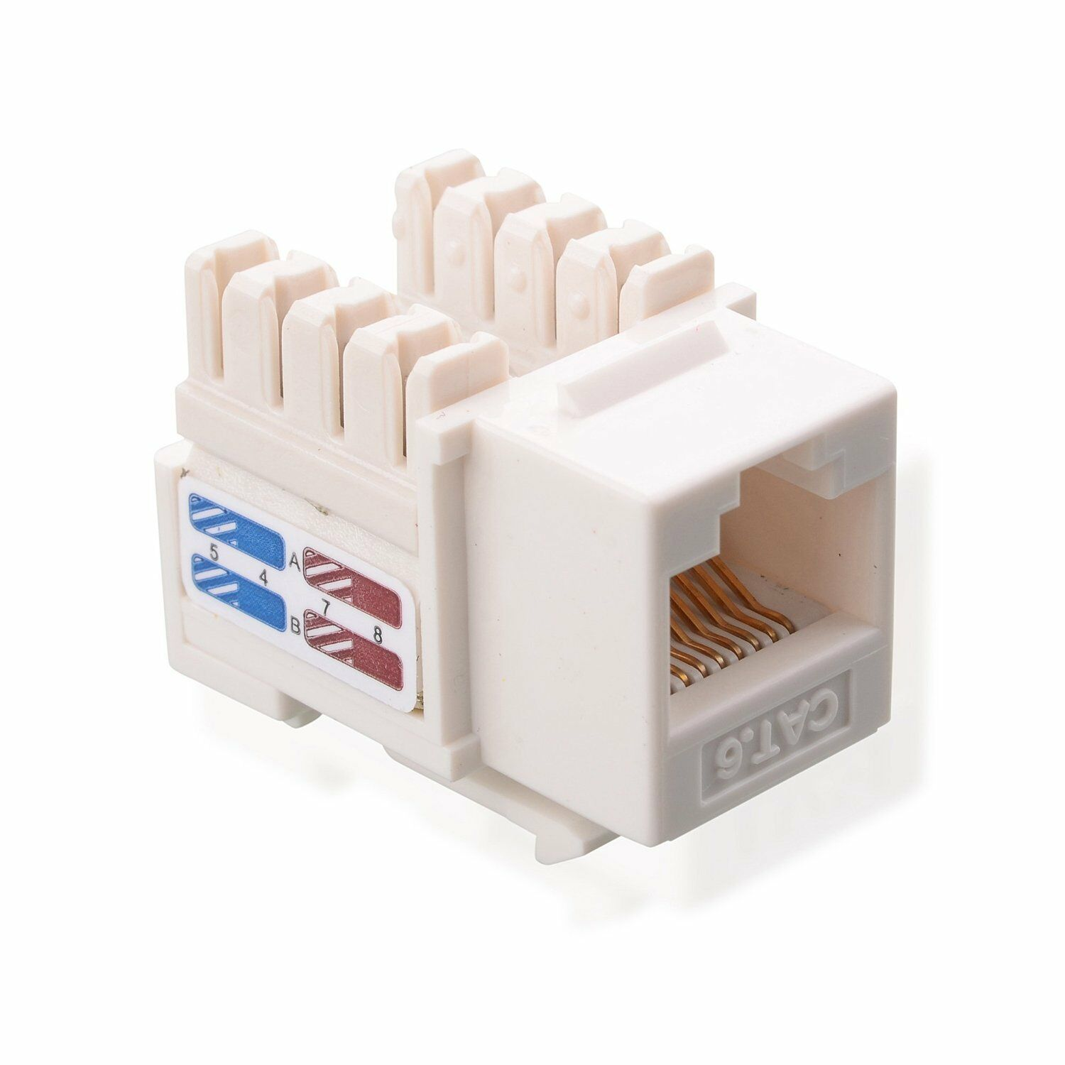 Cable Matters 50 Pack Cat6 Rj 45 Keystone Jack In White With Punch Wiring Block Kit Picture 1 Of 5