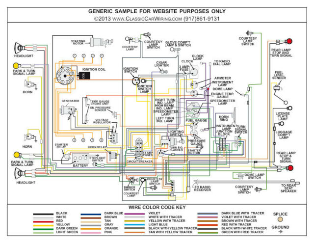 1951 51 1952 52 Ford Truck Full Color Laminated Wiring Diagram 11\