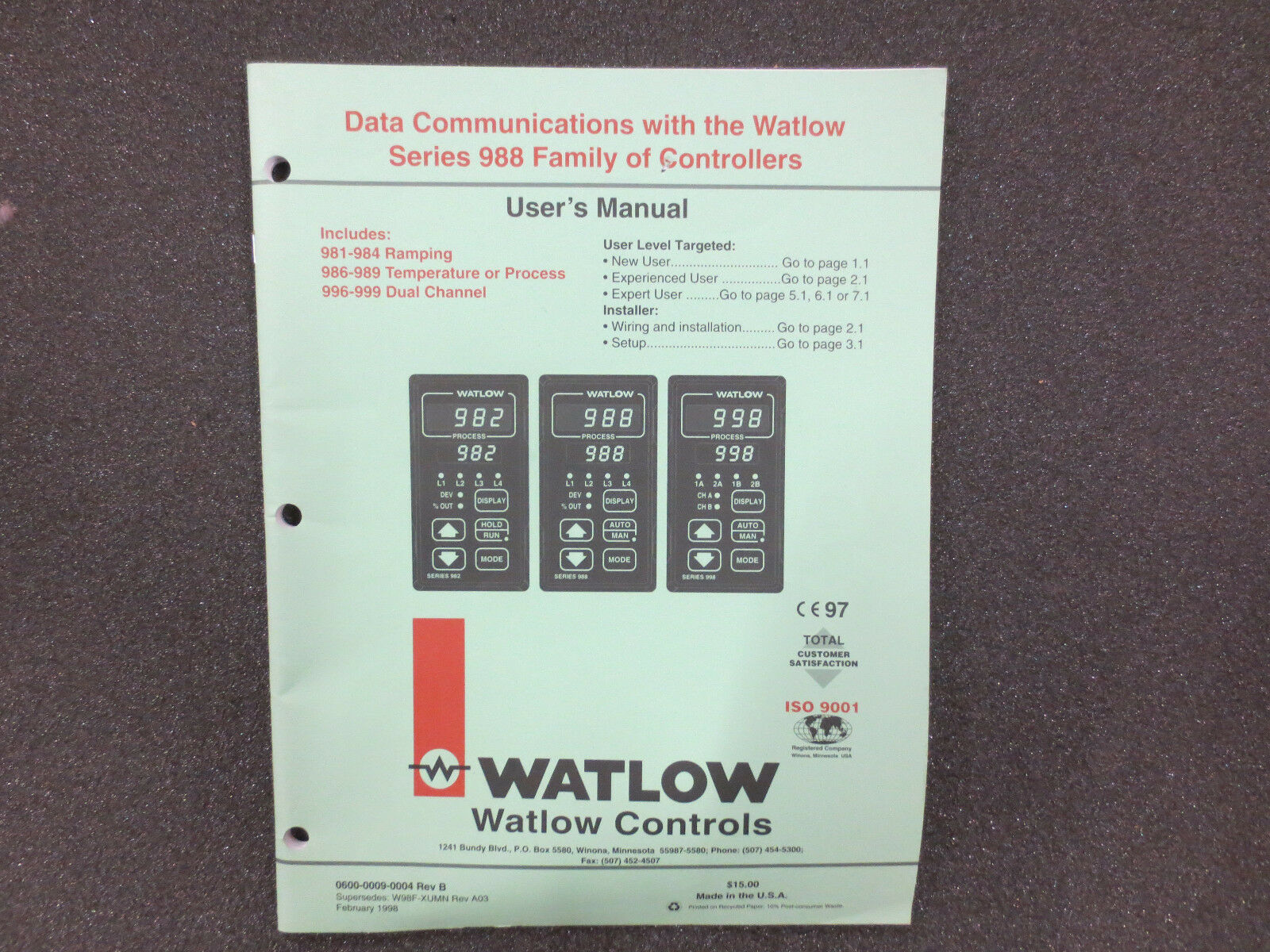 Watlow Manual Wiring Diagram Oreck Xl 988 Ez Zone Factory Reset Array Series Data Communications Ebay Rh Com