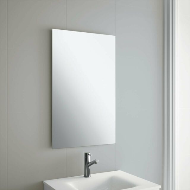 50 X 70cm Frameless Rectangle Bathroom Mirror With Wall Hanging Fixings