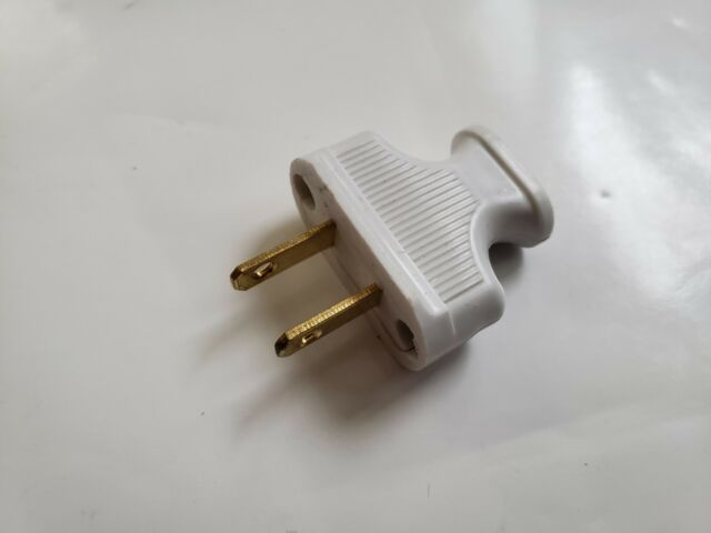 NEW Vintage White Antique Style Electrical Plug For Cloth Covered Wire Lamp  Cord
