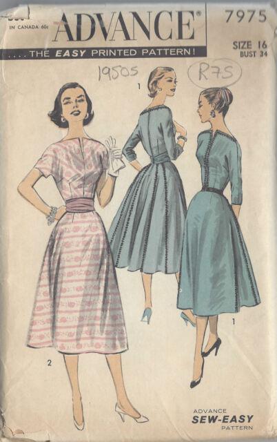 50er Jahre Vintage Näh Muster B34\