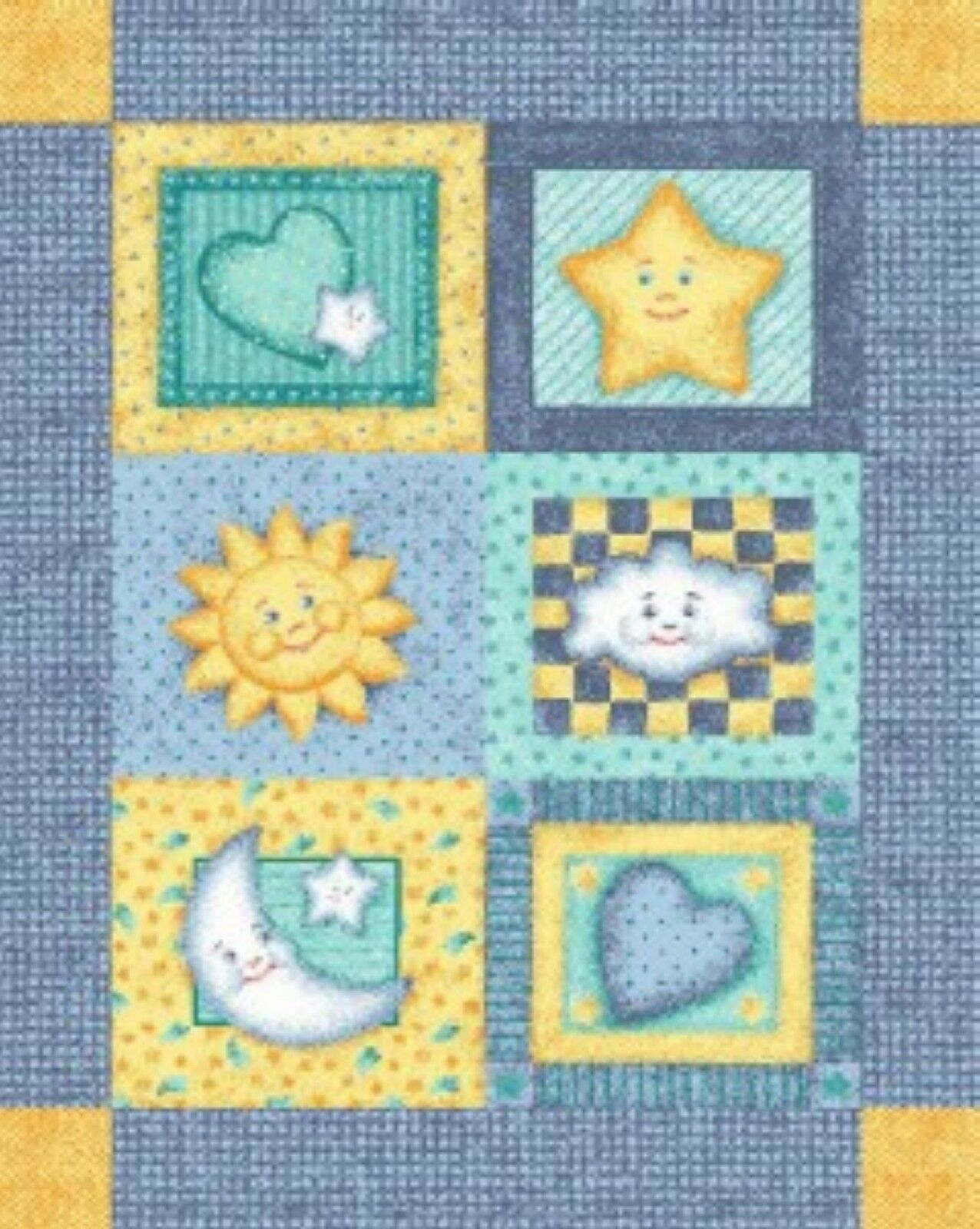 Baby Good Night Moon and Stars Quilt Top Wall Hanging Panel Fabric ...