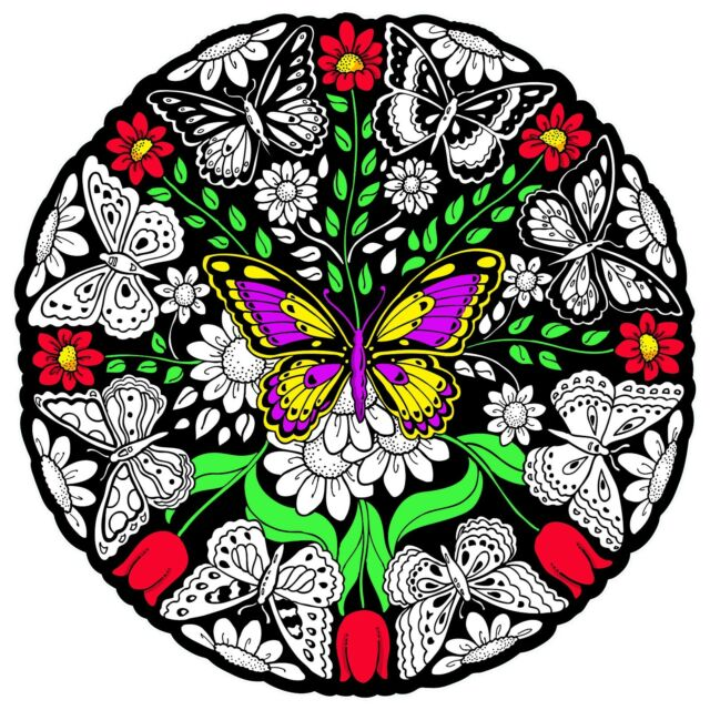 Butterfly Mandala - Large 20x20 Inch Fuzzy Velvet Coloring Poster ...