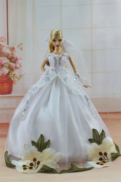 White Fashion Princess Dress Wedding Clothes/gown Veil for Barbie ...