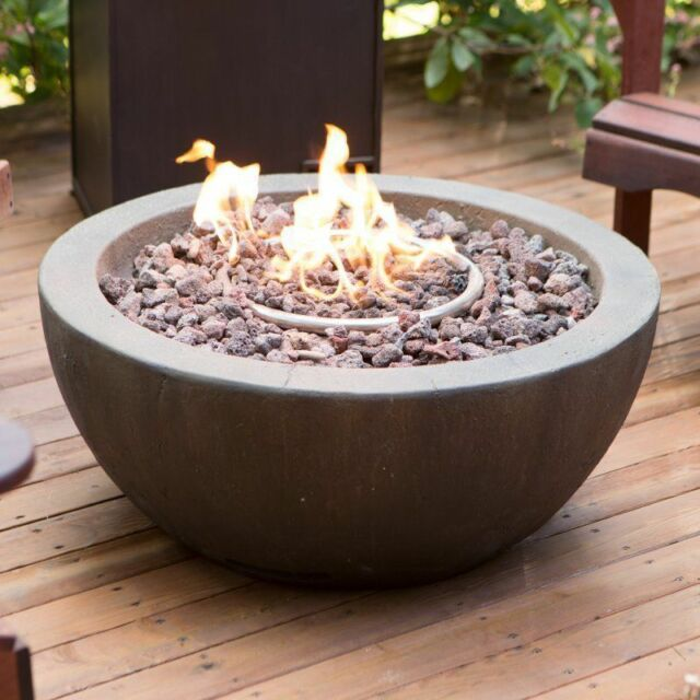 Outdoor Fire Pit Propane Gas Backyard Patio Deck With Cover