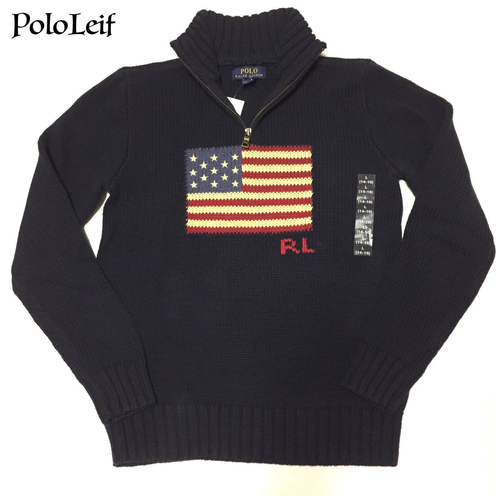 Boys 5 5t Polo Ralph Lauren US Flag Navy Sweater 1/4 Zip Pullover ...