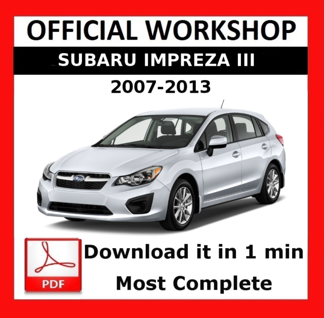 official workshop manual service repair subaru impreza xv 2007 rh ebay com 2007 subaru impreza workshop manual 2007 subaru impreza wrx sti service manual