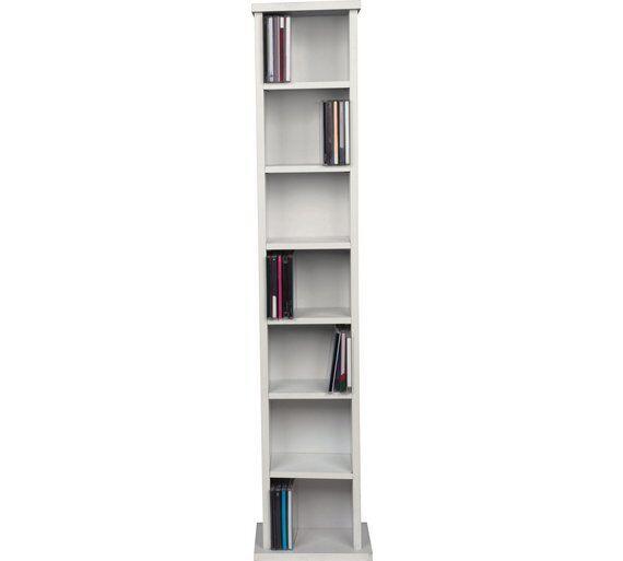 White Wooden CD Rack 6 Tier Storage Unit Cabinet Stand DVD Shelf Organiser  Tower