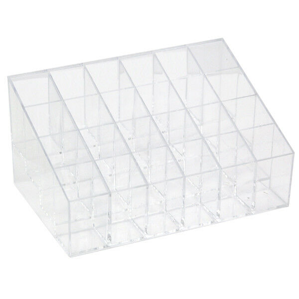 24 Trapezoid Display Clear Makeup Lipstick Stand Case Cosmetic