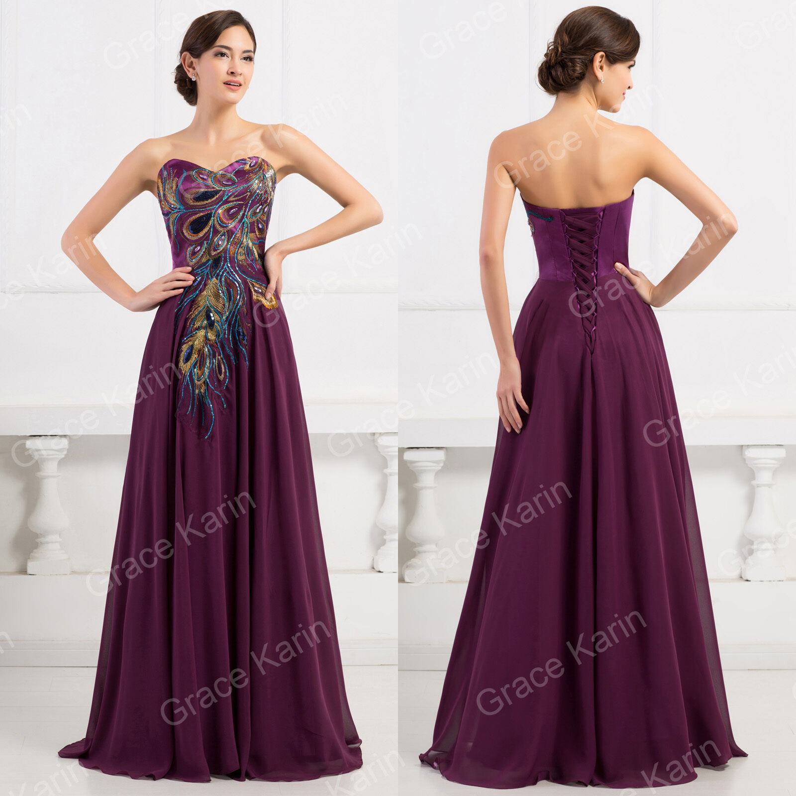 Grace karin peacock formal evening gown prom party lady chiffon picture 5 of 10 ombrellifo Images