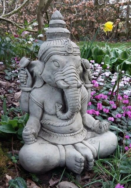Large garden statue ganesh stone buddha ornament ebay stone garden large meditating ganesh elephant god praying buddha statue ornament workwithnaturefo