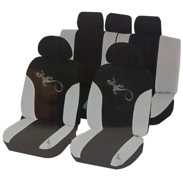 UniTEC Auto Sitzbezüge Set Reptilia Sitzbezug Weiß Kopfstützen Rücksitz Airbag