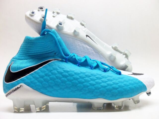 NIKE HYPERVENOM PHATAL III FG SOCCER CLEAT WHITE/BLUE SZ MEN'S 10.5 [878640-104]