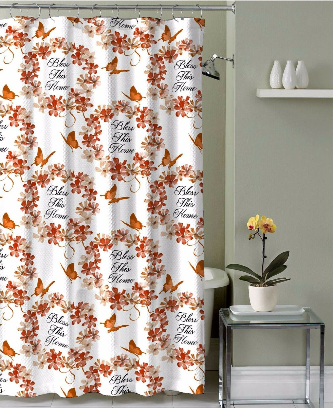 red and tan shower curtain. Picture 1 of 3  Red Orange Tan Fabric Shower Curtain Bless This Home Floral Wreath