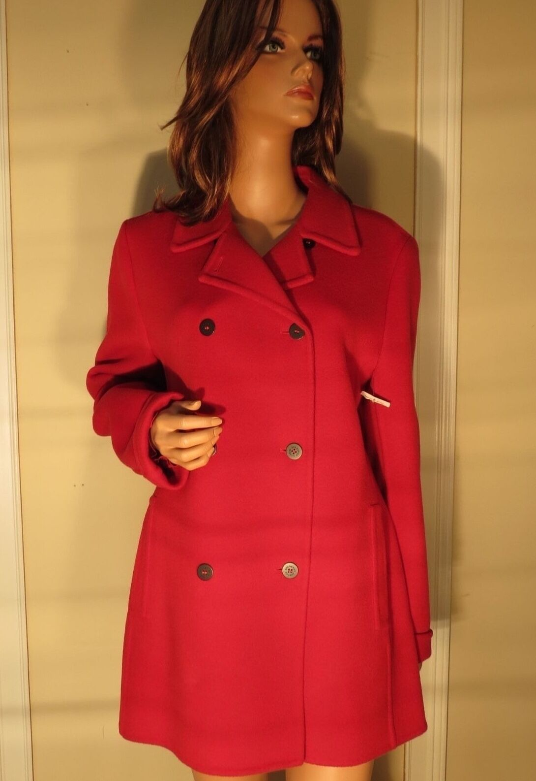 Womens Authentic Burberry London 100 Wool Red Pea Coat Jacket 14 ...