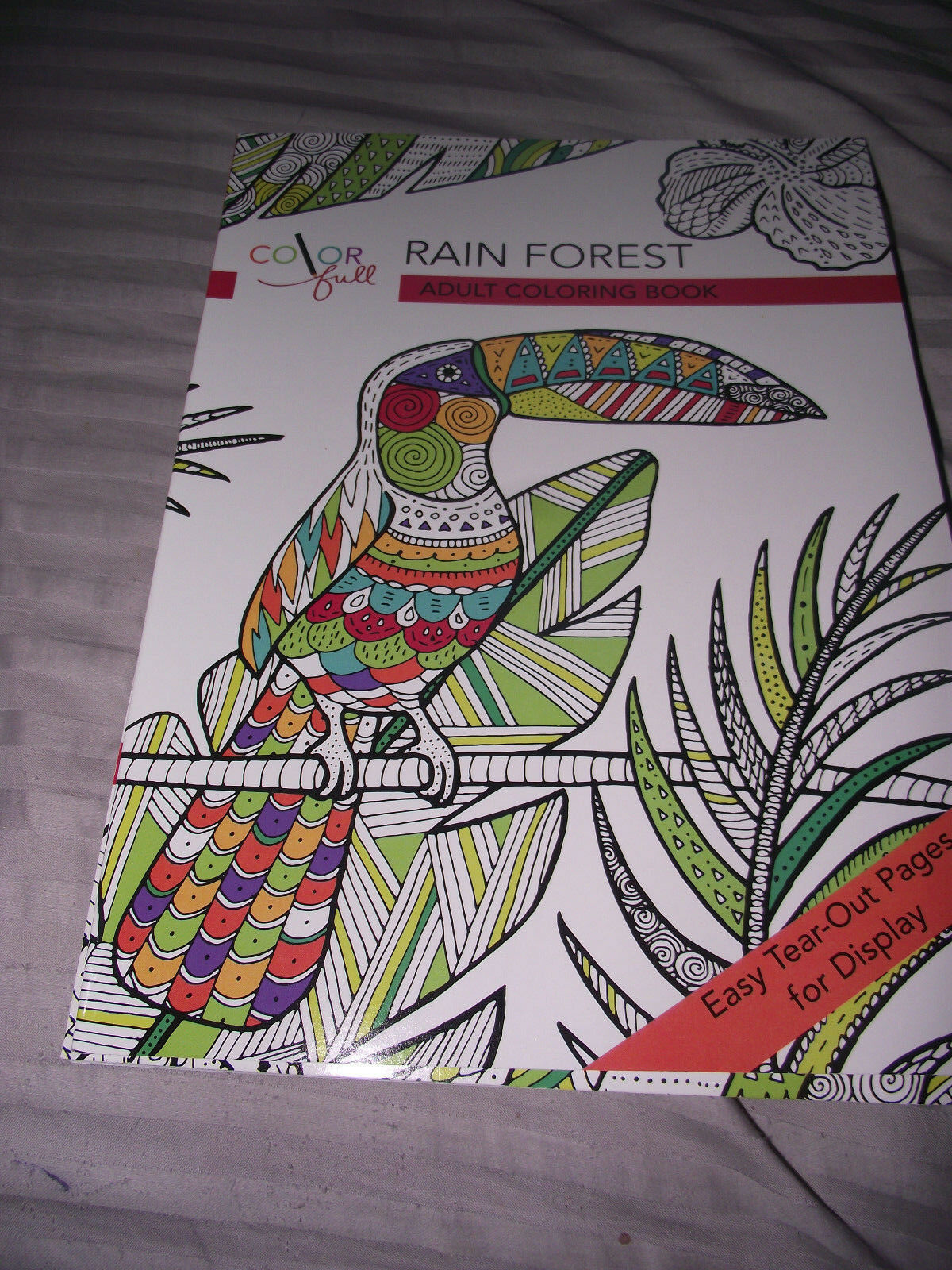 Color Full Rain Forest Adult Coloring Book Easy Tear Out Pages