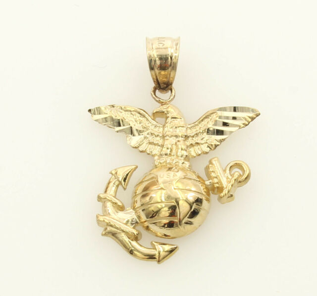 14k yellow gold us marine corps eagle globe anchor charm ebay 14k real yellow gold small eagle globe anchor us marine corps charm pendant aloadofball Images