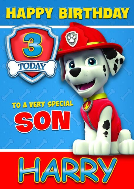 Paw Patrol Marshall Personalised Birthday Card Age Son Brother – Birthday Card Nephew