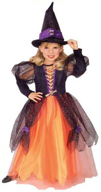 Pretty Witch Wicked Black Orange Cute Fancy Dress Up Halloween Child Costume  sc 1 st  eBay : princess witch costume  - Germanpascual.Com