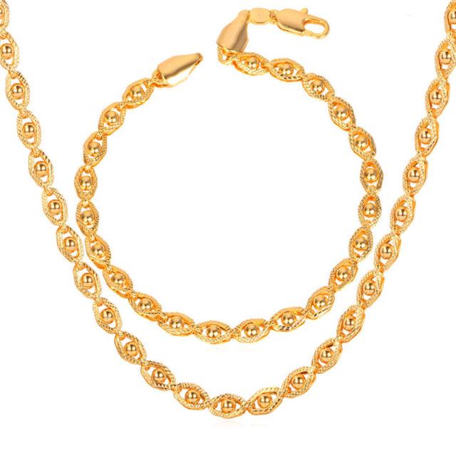 Unique Design Mens Cool Chain Necklace Bracelet 18k Gold Plated