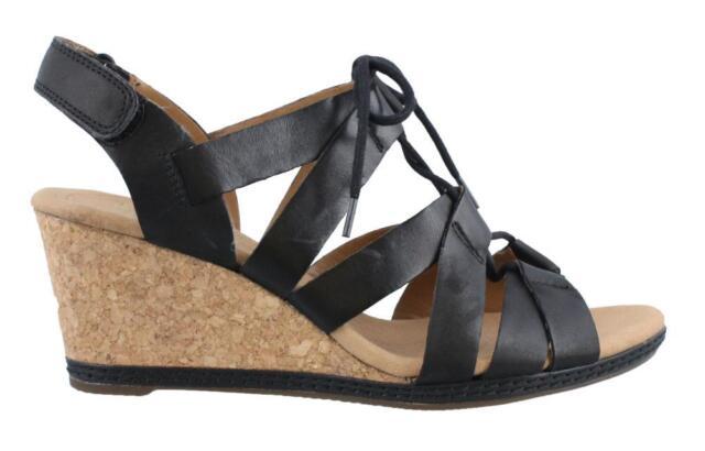 Clarks Helio Mindin High Heel Wedge Leather Womens Sandals High Heel High  Heel