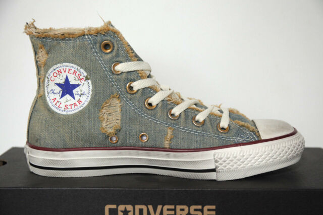 NUOVO All Star Converse Chucks Hi 123145 Denim Light Blue Scarpe Sneaker High Top