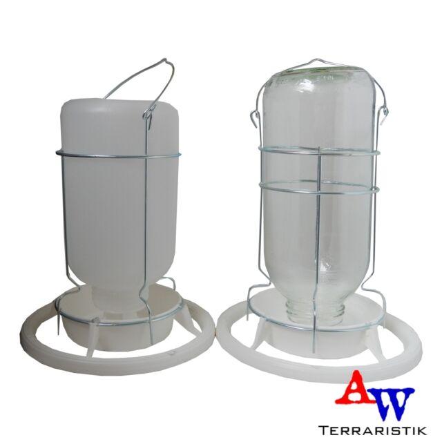 Vogeltränke 1L - Wasserspender Wassernapf Tränke für Vögel - Glas o. Kunststoff