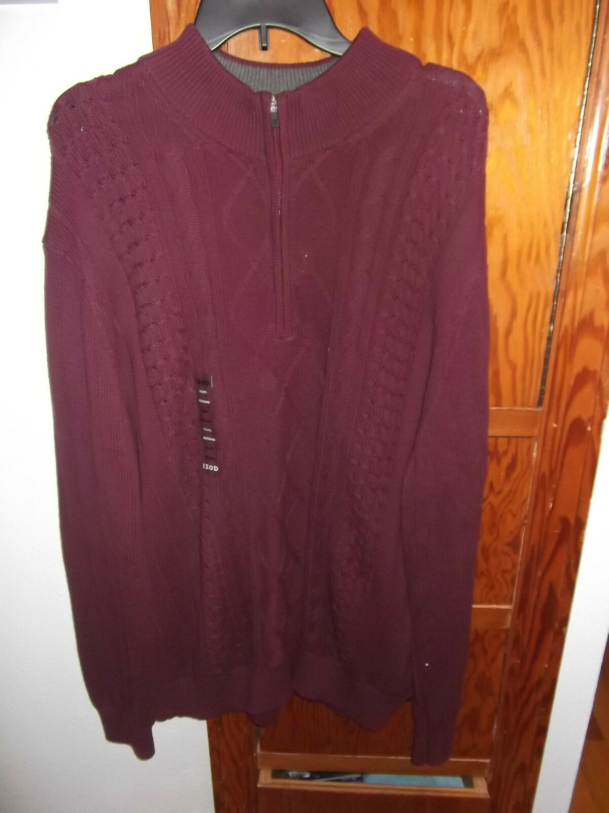 Big Men's IZOD Cable Knit Quarter Zip Sweater Size 3xl Tall Tag ...