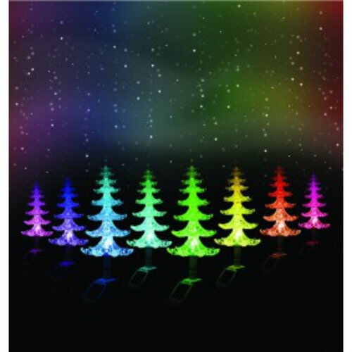 4x Solar Powered Colour Changing Christmas Tree Led Garden