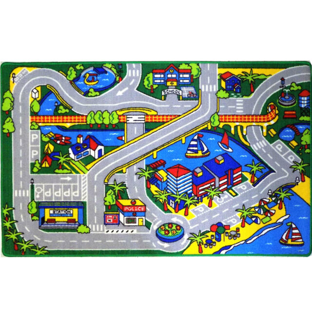 Harbor Map Kids Rug Cars Truck Children Play 3 X 5 Area Street Gray2017