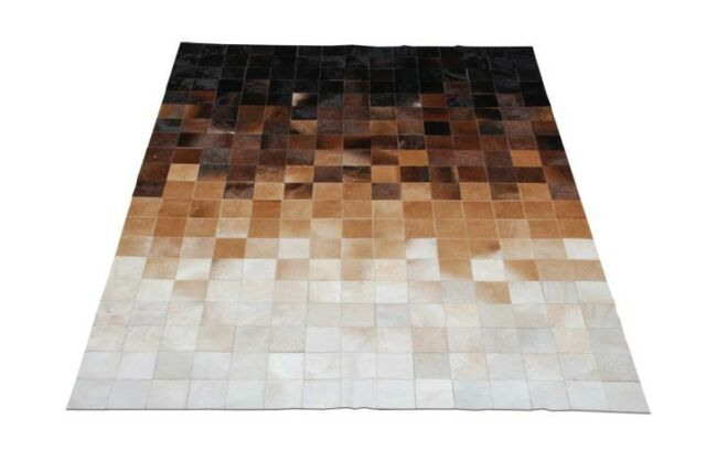 New Large Cowhide Rug Patchwork Cowskin Cow Hide Leather Carpet Brown
