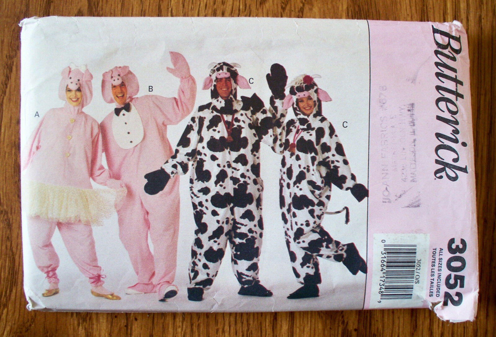 Butterick sewing pattern 3052 oop adult cow and pig costumes sizes picture 1 of 5 jeuxipadfo Images