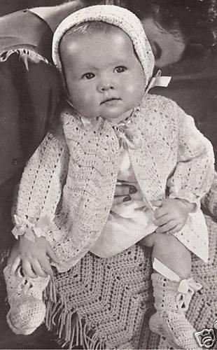 Vintage Baby Sweater Cap Blanket Set Crochet Pattern Ebay
