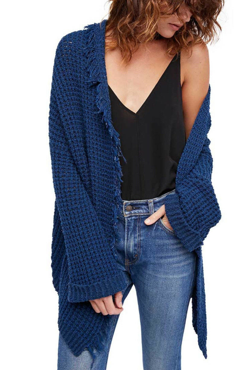 People I'll Be Around Cardigan Ob7968 Sapphire Blue Sweater Size S ...