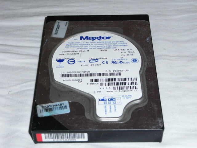 "Maxtor 6E040L0 40 GB DiamondMax Plus 8 3,5"" IDE Festplatte PC Hard Disk Harddisk"