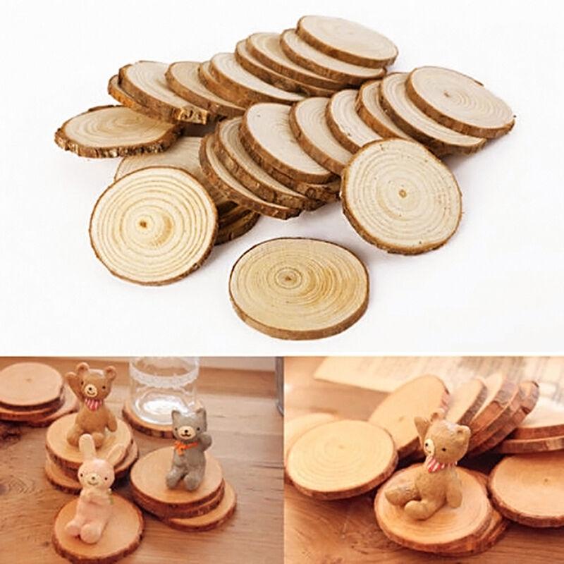 25 Pcsset Wood Log Slices Discs For Crafts Wedding Hobbies