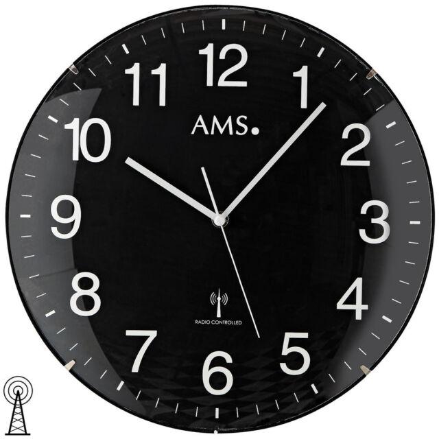 AMS 5959 Wanduhr Funk Funkwanduhr analog rund schwarz schlicht mit Glas