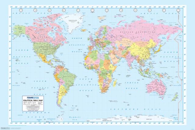 World Map Geography Atlas Educational Earth Latitude Classroom - World map geography