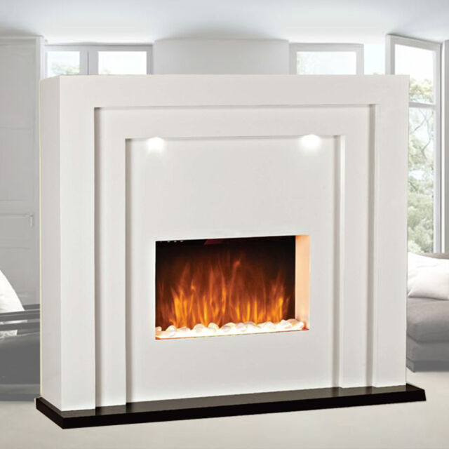 Contemporary Free Standing Electric Fires: DESIGNER Standing Electric Fire Fireplace White MDF