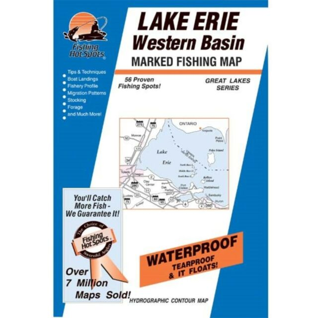 Lake Erie Western Basin Map GPS Points Waterproof Fishing Hot Spots - Lake erie fishing hot spots map