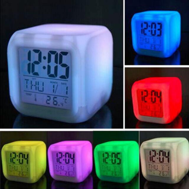 Home Bedroom Kids 7 Color LED Change Digital Glowing Alarm Clock ...