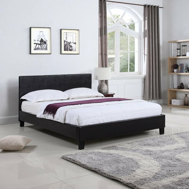 Heavy Duty Classic Deluxe Bonded Leather Low Profile Platform Bed ...