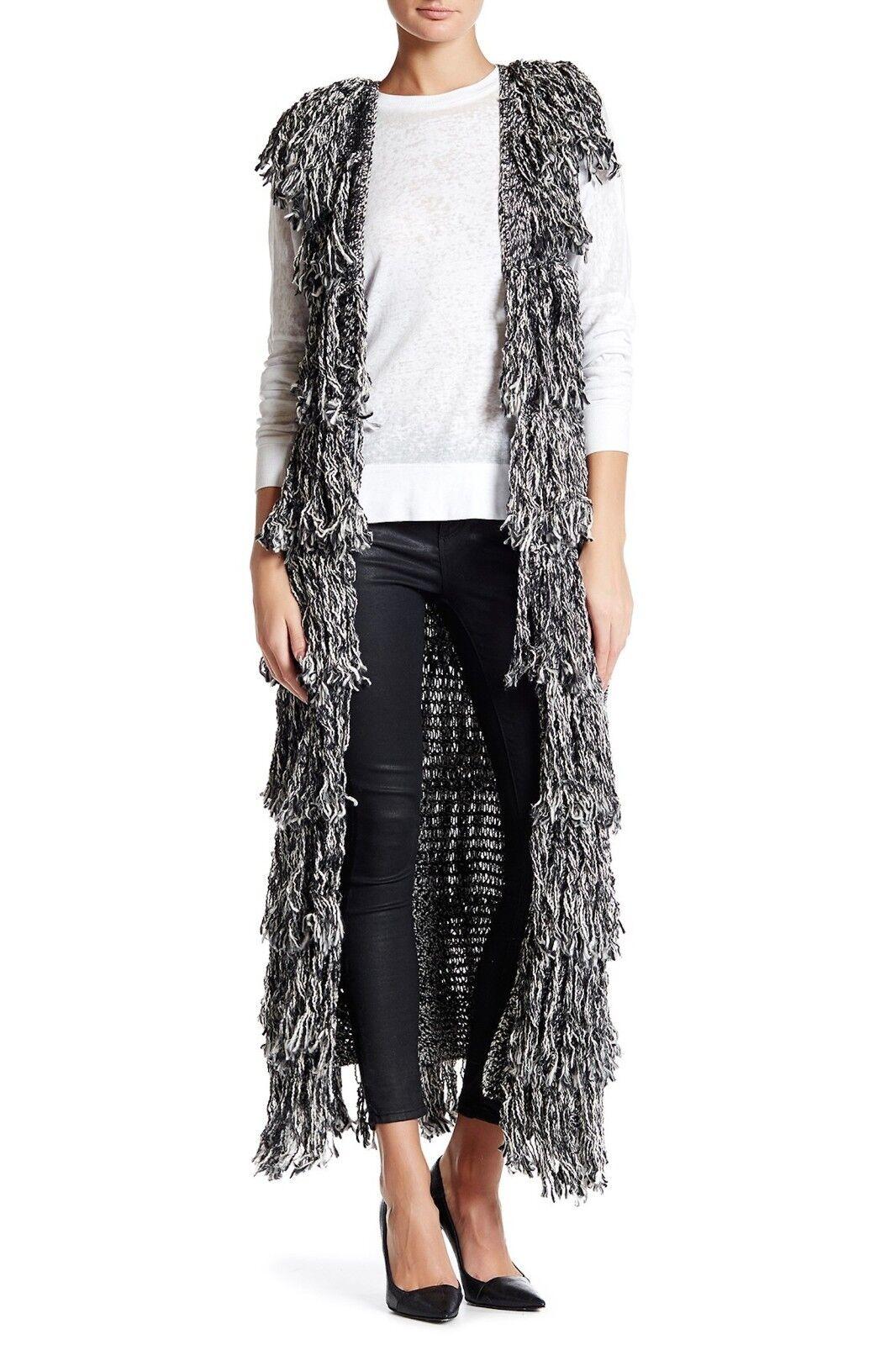 Alice Olivia Yazmin Black Cream Long Fringe Sweater Vest C51075192 ...