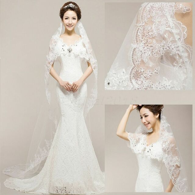 Romantic Women 1 Tier 1.5m Long White Sequin Wedding Dress Cathedral ...