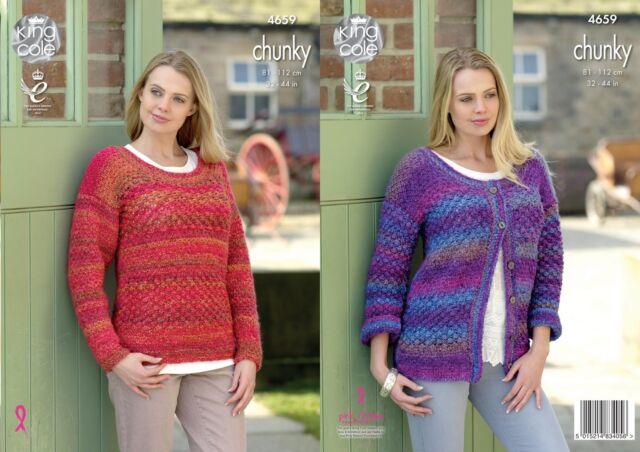 King Cole 4659 Knitting Pattern Womens Cardigan and Sweater in Corona Chunky